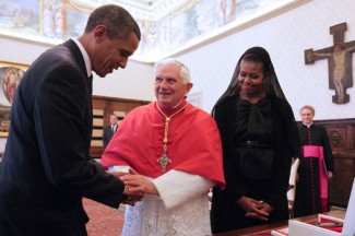 Pope Benedict XVI and U.S. President Barack Obama during Obama's 2009 visit to the Vatican. (CNS photo/Chris Helgren, Reuters)