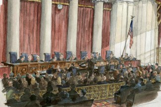 An artist's rendering shows the U.S. Supreme Court in session for oral arguments in a case challenging California's Proposition 8. (CNS photo/Art Lien, Reuters)