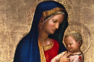 "The Virgin Mary and Christ Child are depicted in a 15th-century painting by Masaccio entitled ""Madonna col Solletico"" or ""Tickling Madonna."" (CNS photo courtesy Art Resource/Scala)"