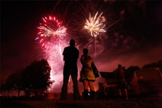 People watch an Independence Day fireworks display in Independence, Iowa. (CNS photo/Jessica Rinaldi, Reuters)