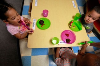 Children eat breakfast at the Baltimore Catholic Charities Head Start program in Edgewood, Maryland. (CNS photo/Nancy Phelan Wiechec)
