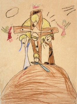 "Fr. Bill's first painting, ""The Crucifixion"""