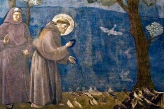 St. Francis pictured preaching to the birds in a fresco in the Basilica of St. Francis in Assisi, Italy. (CNS photo/Octavio Duran)