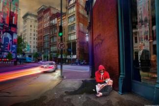 "Photographic work ""Good Samaritan"" by Christopher Ruane. (CNS photo/Christopher Ruane, courtesy of the artist)"