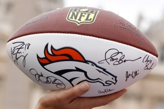 A football signed by the Denver Broncos and presented to Pope Francis. (CNS photo/Paul Haring)