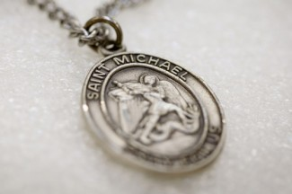 A medal carrying the name and image of Michael the Archangel. (CNS photo/Nancy Phelan Wiechec)