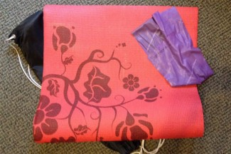 My pilates mat and stretching band.