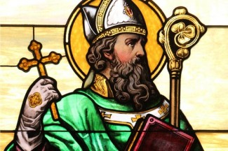 St. Patrick depicted in a stained-glass window at the Co-Cathedral of St. Joseph in Brooklyn, N.Y. (CNS photo/Gregory A. Shemitz)