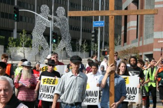 """A scene from """"Good Friday Stations of the Nonviolent Cross"""" in Los Angeles. (Photo courtesy of Michael Wisniewski)"""