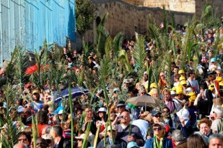 Christian pilgrims carry palm branches during the Palm Sunday procession in Jerusalem. (CNS photo/Debbie Hill)