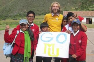 Brian with some of his students at Fe y Alegría 44 in Andahuaylillas, Perú.