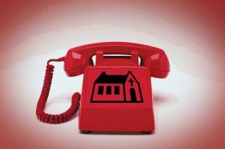 red-church-phone