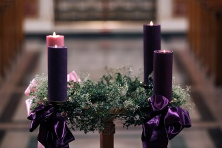 The Advent wreath, with a candle marking each week of the season. (CNS photo illustration/Bob Roller)