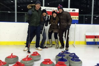 Lynn, second from right, at the Buffalo Curling Club