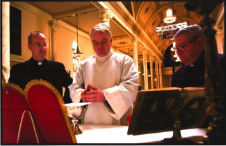 "Jesuit Fr. James Martin with Philip Seymour Hoffman. Martin served as a theological advisor on the Hoffman-directed play ""The Last Days of Judas Iscariot,"" as well as a consultant for the Oscar-nominated film ""Doubt."""