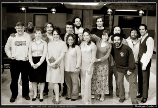 The cast and creative team of The Last Days of Judas Iscariot. Included are director Philip Seymour Hoffman (far left) and Sam Rockwell (second from right), who played Judas. (Monique Cabroni; Huffington Post)