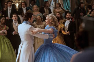 """Lily James and Richard Madden star in a scene from the movie """"Cinderella."""" (CNS photo/Disney Enterprises)"""