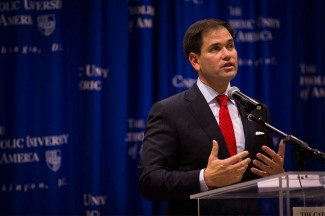 U.S. Senator Marco Rubio delivers a policy address at The Catholic University of America in 2014. (CNS photo/Tyler Orsburn)