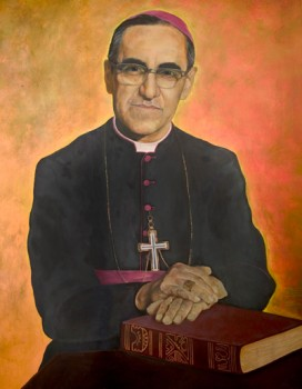 This painting of Salvadoran Archbishop Oscar Romero is located in the lower level of the Cathedral of San Salvador. (CNS photo/Octavio Duran)