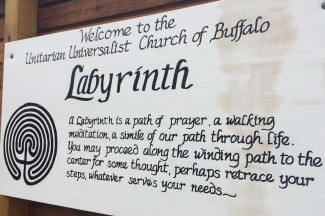 Welcome sign at the labyrinth Lynn visited.
