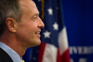 Martin O'Malley delivers a policy address on economic equity to students at The Catholic University of America in Washington, D.C. (CNS photo/Tyler Orsburn)