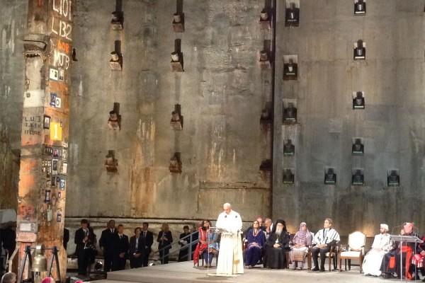 Pope Francis addresses faith leaders gathered at an interreligious prayer service at Ground Zero. Photo by Barbara Wheeler-Bride