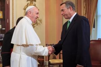 John Boehner greets Pope Francis.