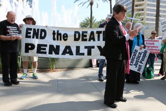 Sister Helen Prejean speaks during a demonstration against the death penalty earlier this year. (CNS photo/J.D. Long-Garcia, The Tidings)