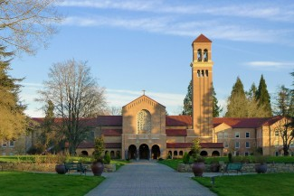 The church at Mount Angel Abbey. Since 1882, the abbey has been situated on a hilltop above the small town of Mt. Angel in Oregon's Willamette Valley. Photo Credit: Courtesy Mount Angel Abbey