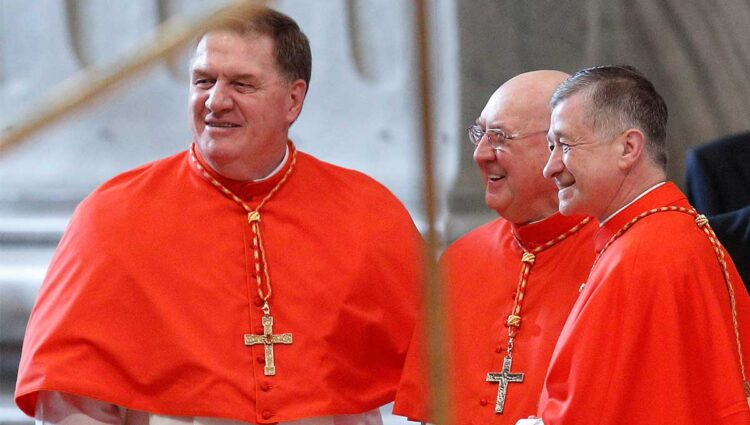 New U.S. Cardinals Joseph W. Tobin of Indianapolis, Kevin J. Farrell, prefect of the new Vatican office for laity, family and life, and Blase J. Cupich of Chicago. (CNS photo/Paul Haring)