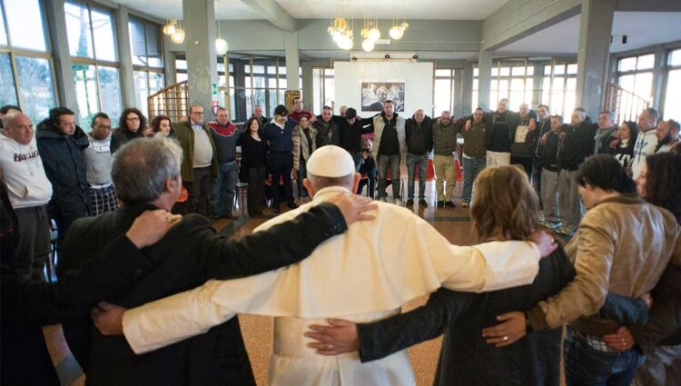Pope Francis visits the San Carlo Community, a drug rehabilitation center on the outskirts of Rome. The pope encouraged the 55 patients to trust God's mercy to keep them strong. (CNS photo/L'Osservatore Romano)