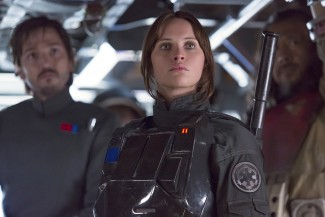 "Diego Luna, Felicity Jones and Jiang Wen star in a scene from the movie ""Rogue One: A Star Wars Story."" (CNS photo/Lucasfilm Ltd.)"