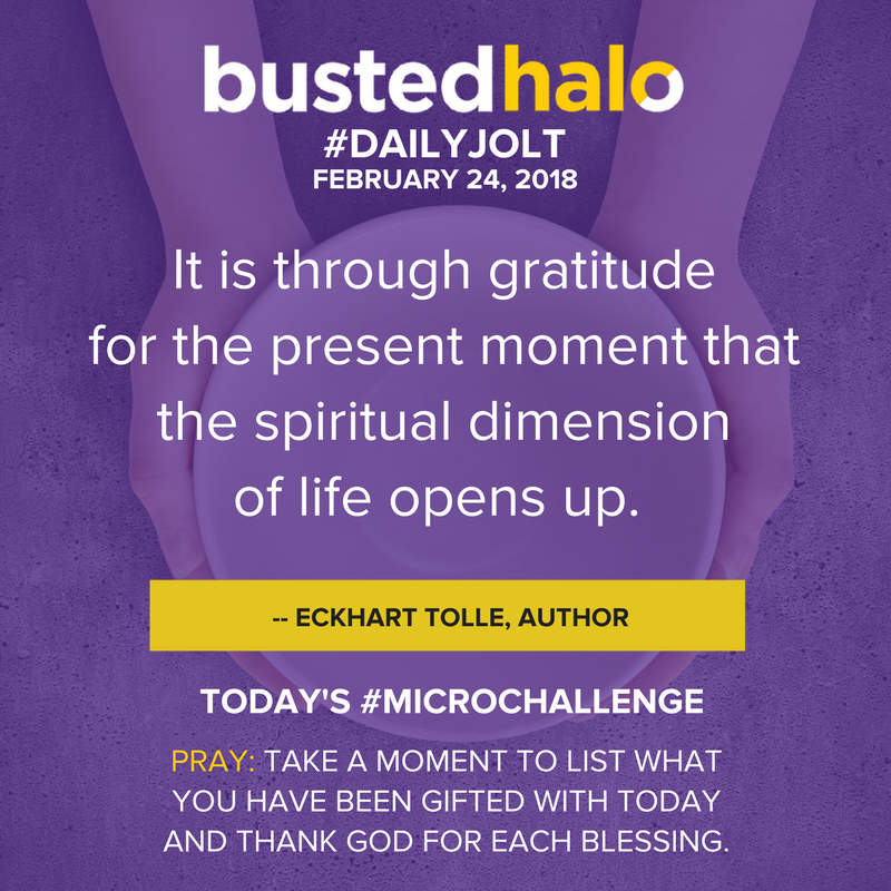 It is through gratitude for the present moment that the spiritual dimension of life opens up. -- Eckhart Tolle, author