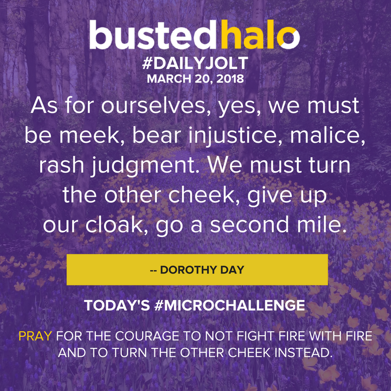 As for ourselves, yes, we must be meek, bear injustice, malice, rash judgment. We must turn the other cheek, give up our cloak, go a second mile. -- Dorothy Day
