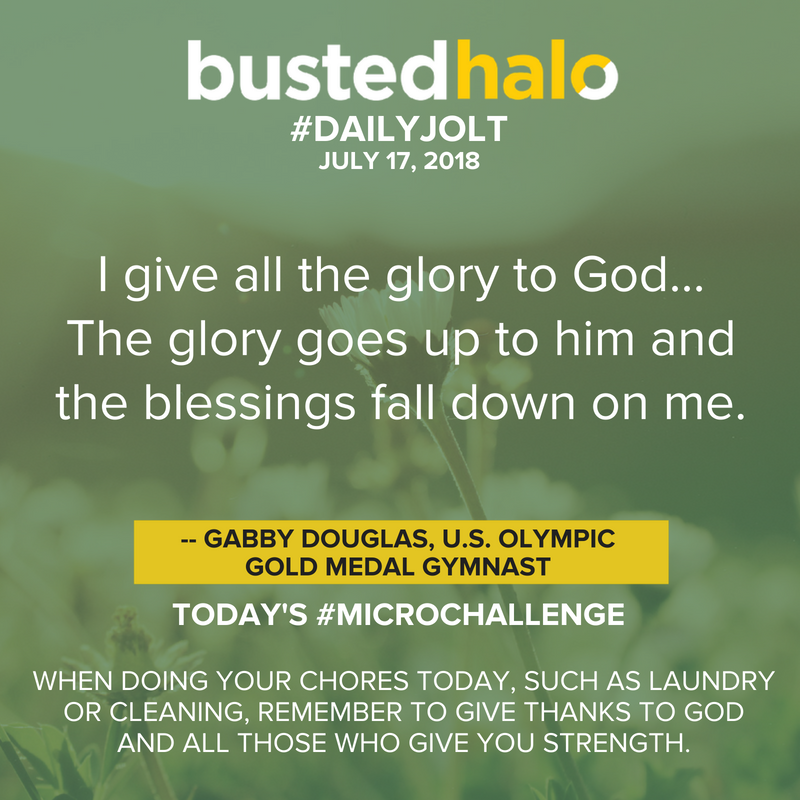 I give all the glory to God. ... The glory goes up to him and the blessings fall down on me. -- Gabby Douglas, U.S. Olympic gold medal gymnast