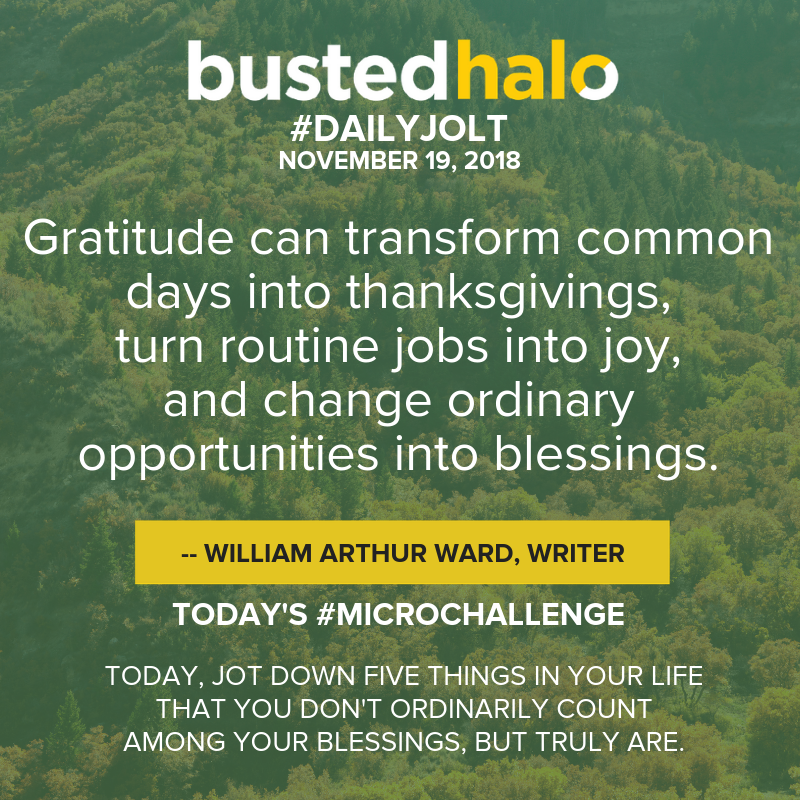 Gratitude can transform common days into thanksgivings, turn routine jobs into joy, and change ordinary opportunities into blessings. -- William Arthur Ward, writer