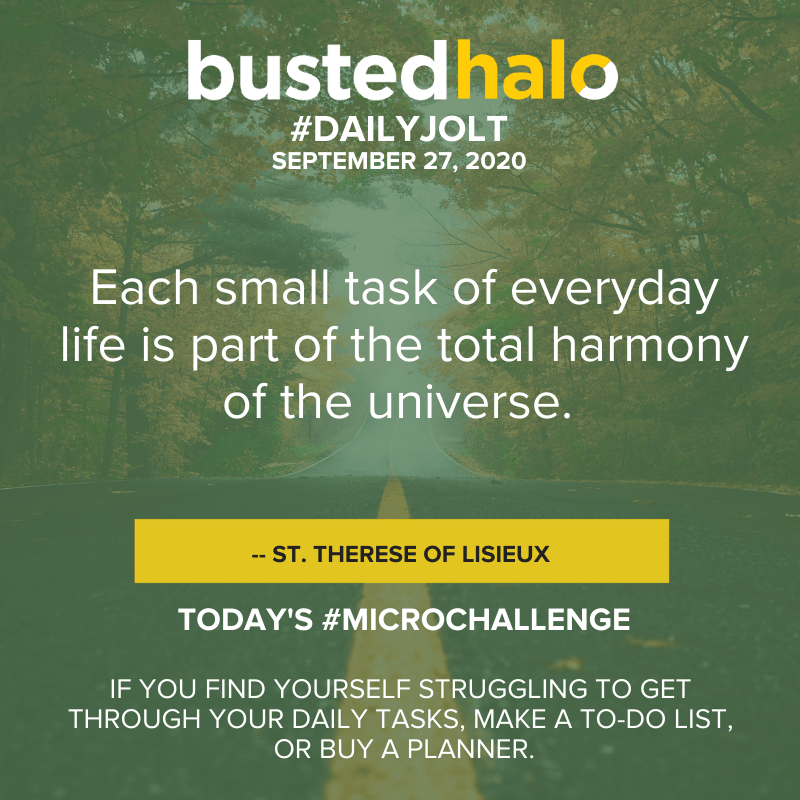 Each small task of everyday life is part of the total harmony of the Universe. -- St. Therese of Lisieux