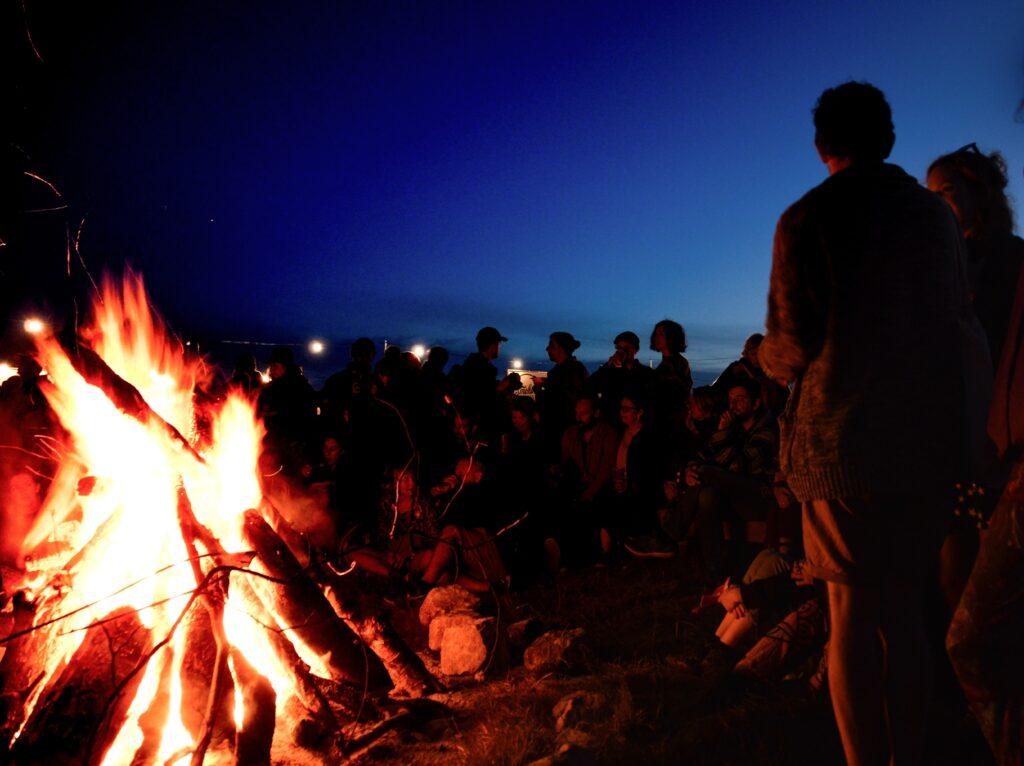 photo shows a bonfire at nighttime