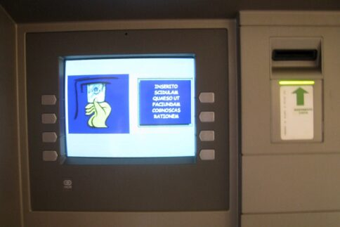 Vatican ATM with text in Latin rather than Italian